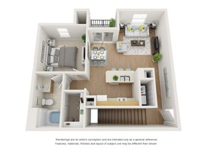 Cypress 3D Floor Plan at Marquette at Piney Point, Houston, Texas