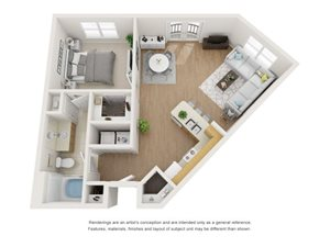 Hawthorn 3D Floor Plan at Marquette at Piney Point, Houston, 77063