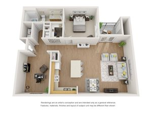 Juniper 3D Floor Plan at Marquette at Piney Point, Houston, Texas