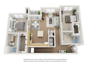 Magnolia 3D Floor Plan at Marquette at Piney Point, Houston, 77063