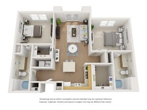 Chestnut 3D Floor Plan at Marquette at Piney Point, Texas, 77063