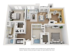 Maple 3D Floor Plan at Marquette at Piney Point, Houston, TX, 77063