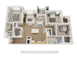 Redwood 3D Floor Plan at Marquette at Piney Point, Houston, TX, 77063