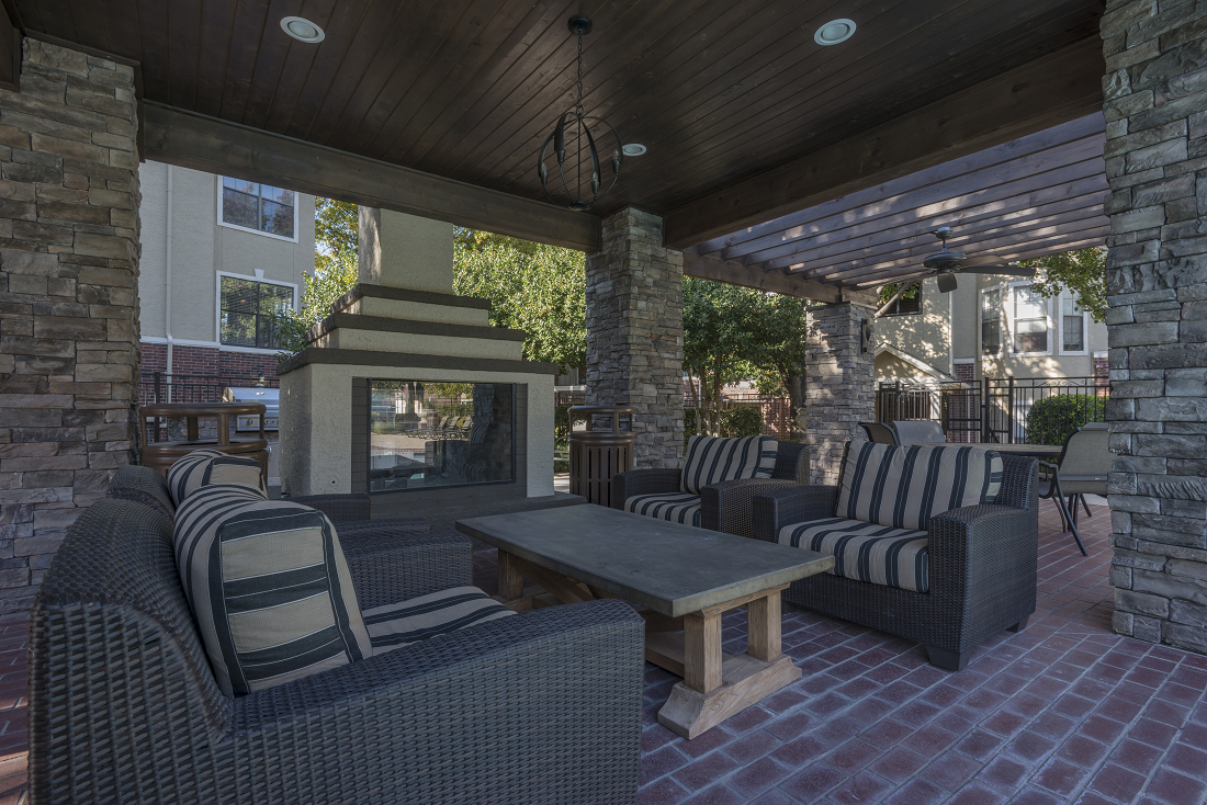 Lounge with firepit at Marquette at Preston Park, Plano, TX, 75093