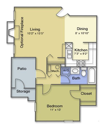 1 Bedroom 1 Bathroom Fireplace Floor Plan 2