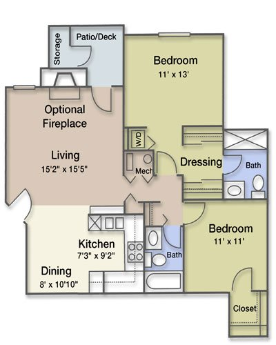 2 Bedroom 2 Bathroom Fireplace Floor Plan 10