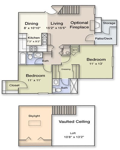 2 Bedroom 2 Bathroom Loft Floor Plan 11