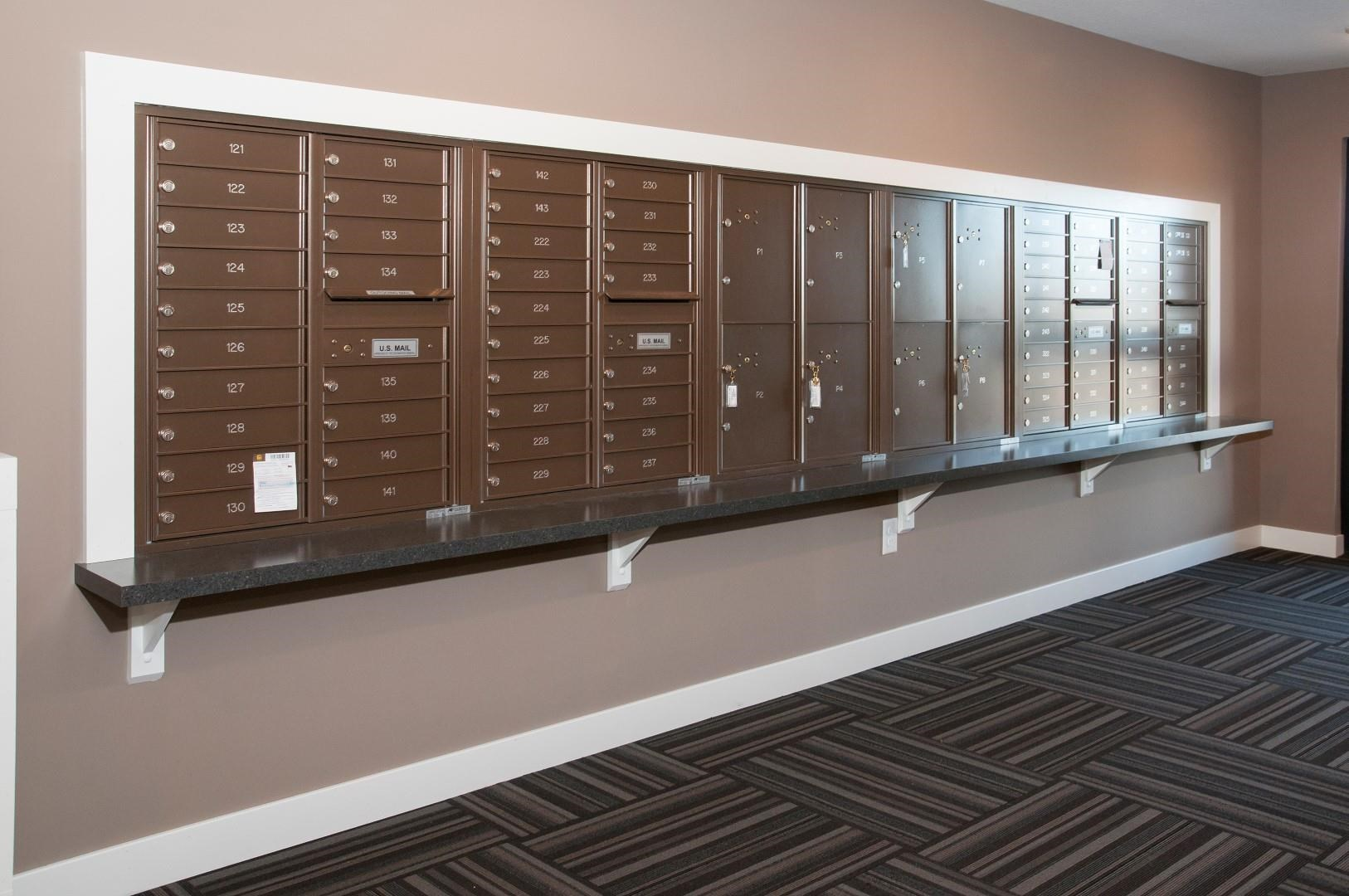 Mail Boxes in Lobby of Carver Crossing Apartments in Carver Minnesota