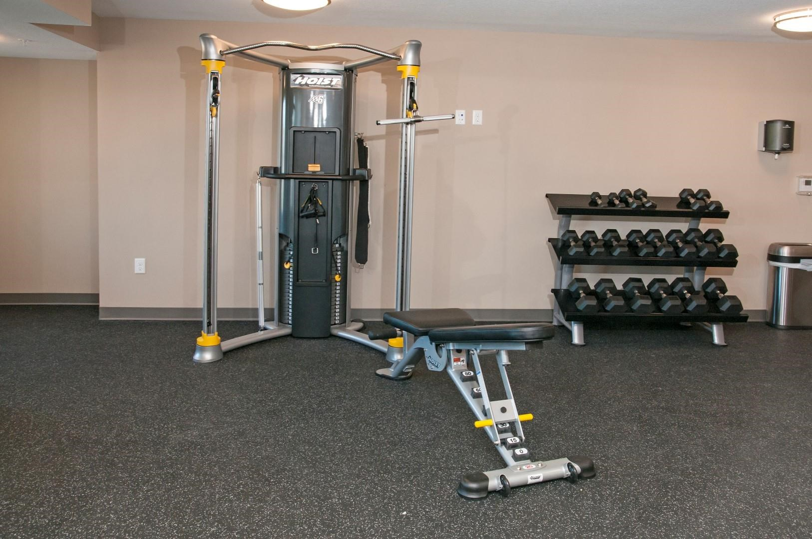 Workout Bench and Free Weights in Fitness Studio at Carver Crossing Apartments