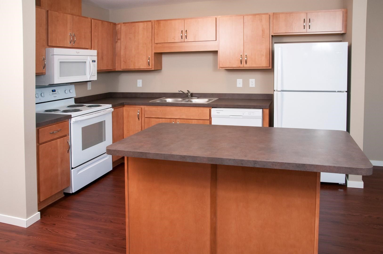 Carver Crossing Kitchen with White Appliances and Wood Cabinetry