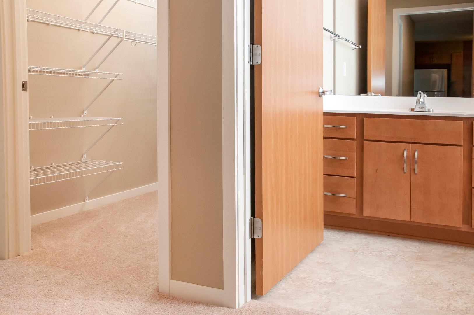 Bathroom and Walking-in Closet Connected to Master Bedroom at Carver Crossing Apartment