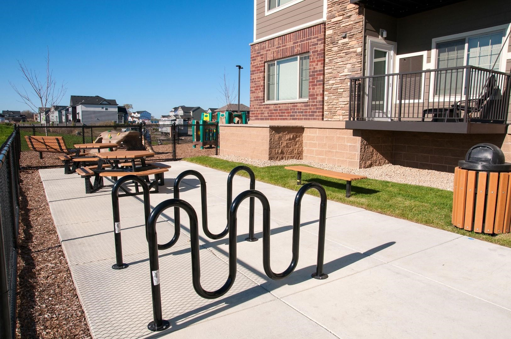 Carver Crossing Apartments Outdoor Bike Rakes on Patio