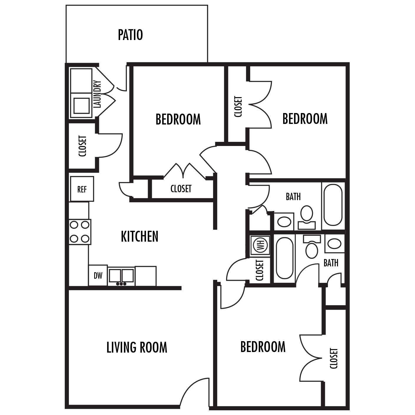 The Grande Floor Plan at Alexander Place Apartments in Salisbury. North Carolina, NC