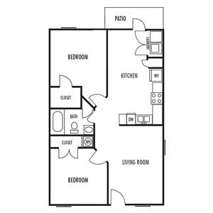 The Villa HC Floor Plan at Alexander Place Apartments in Salisbury. North Carolina, NC