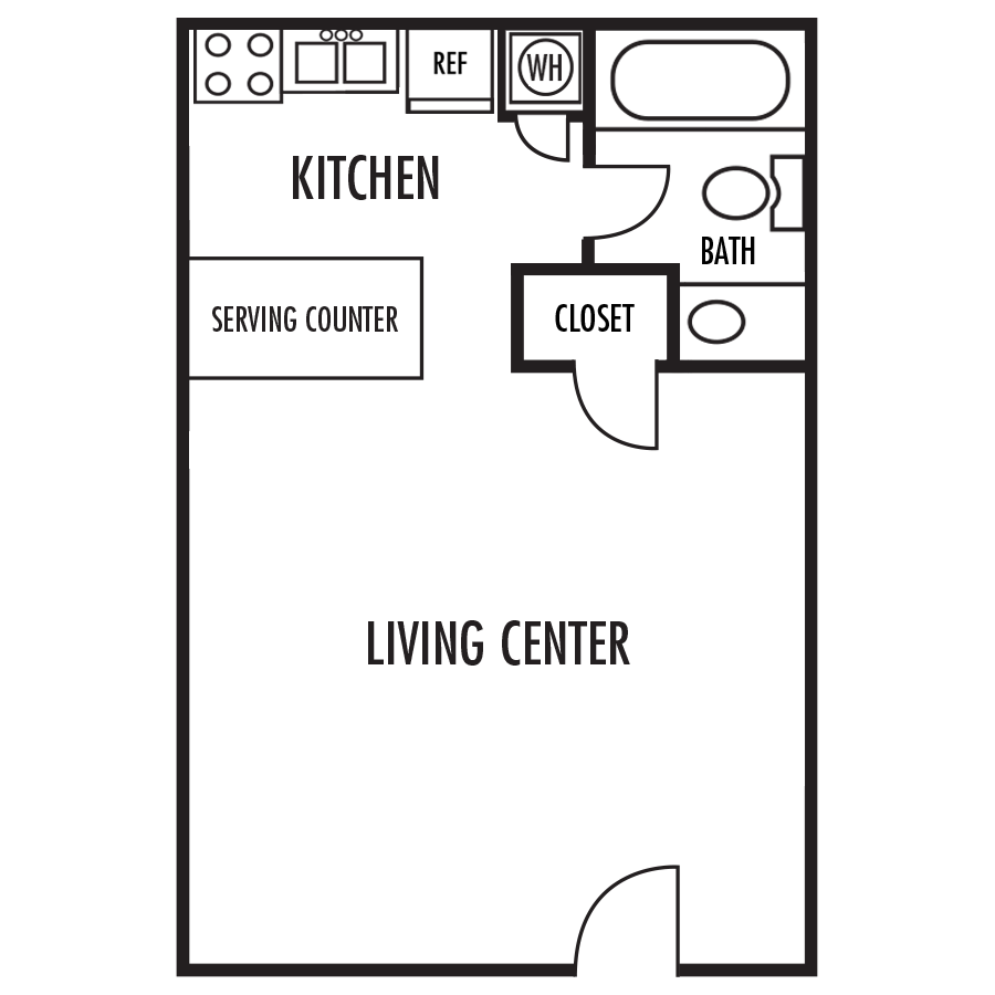 The Cottage Floor Plan at Alexander Place Apartments in Salisbury. North Carolina, NC