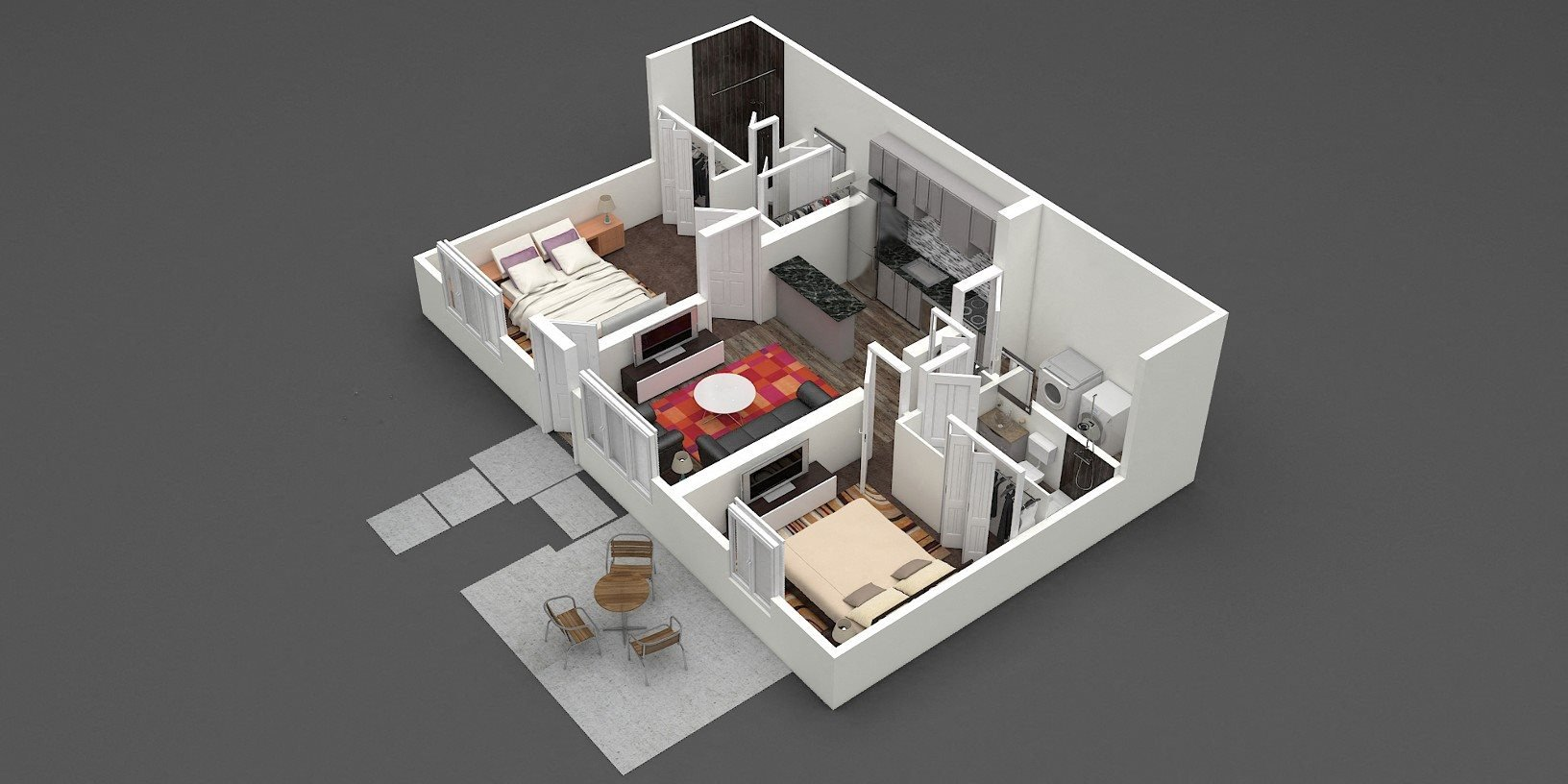 Two Bed | Two Bath | D2 Floor Plan 4