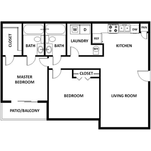 McGullough Floor Plan at The Crossroads at Village Park Apartments in Charlotte, North Carolina, NC