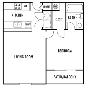 One Bedroom Floor Plan at Hampton Forest Apartments in Concord, North Carolina, NC