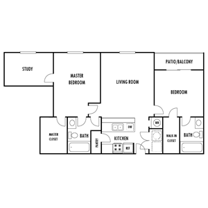 Two Bedroom and Study Floor Plan at Hampton Forest Apartments in Concord, North Carolina, NC