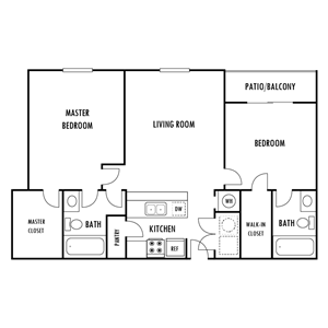 Two Bedroom Floor Plan at Hampton Forest Apartments in Concord, North Carolina, NC