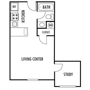 Studio and Study Floor Plan at Hampton Forest Apartments in Concord, North Carolina, NC
