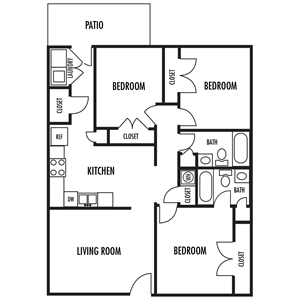 Three Bedroom Floor Plan at River Park Apartments in Mooresville, North Carolina, NC 28117