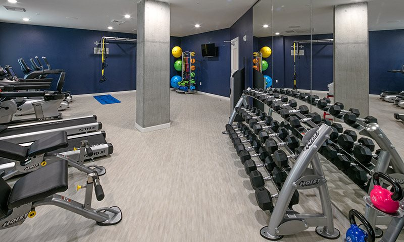 Fully-Equipped Fitness Center with Sound System, Phone Syncing, and Personal Televisions, Sanctuary in Portland, OR 97239