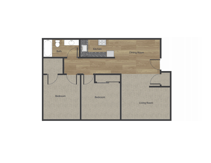 2 Bedroom Floor Plan 1