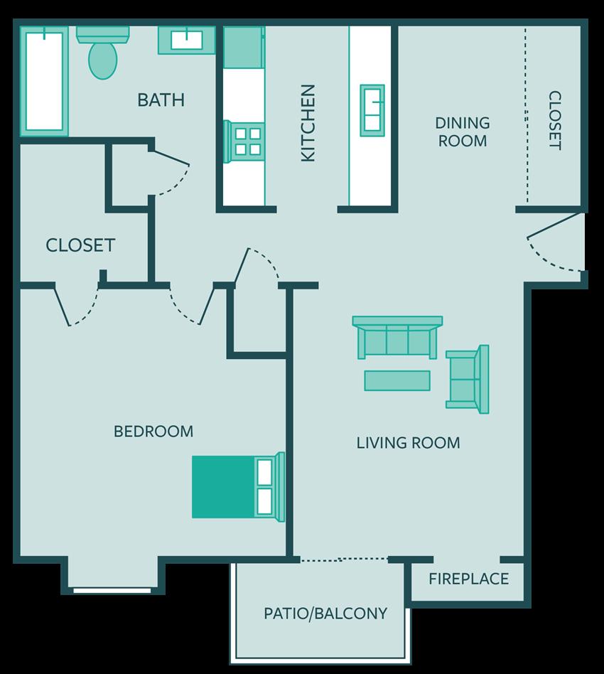 1 bedroom apt floor plan