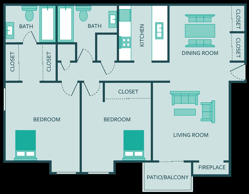 two bed apt floor plan