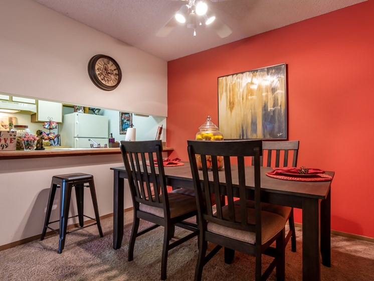 Large dining room at The Retreat at Woodridge Apartments in Lenexa, KS