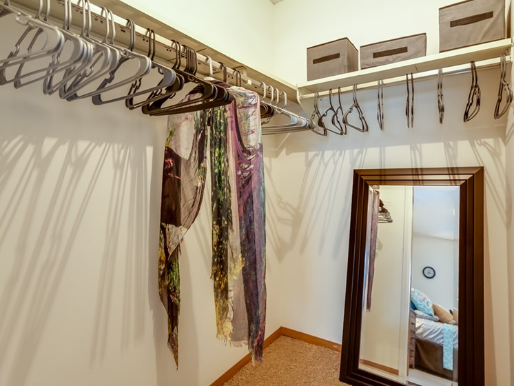 Huge walk-in or walk in closet at The Retreat at Woodridge Apartments in Lenexa, KS