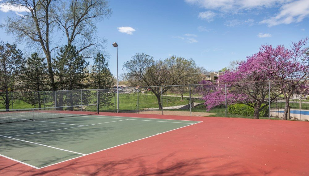 Tennis Court in your backyard at The Retreat at Woodridge in Lenexa, KS and in Kansas City, MO