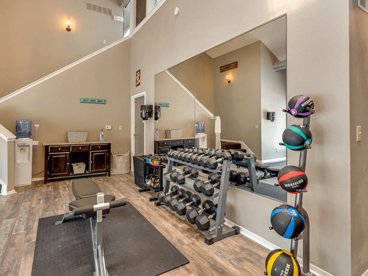 fitness center at The Retreat at Woodridge apartments