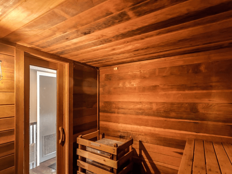 Sauna at The Retreat at Woodridge apartments