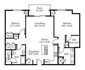 2 Bedroom, 2 Bath 1,207 sq. ft.