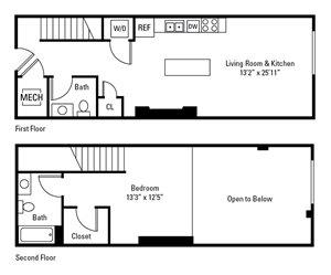 1 Bedroom, 1.5 Bath 815 sq. ft.