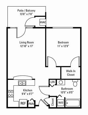 1 Bedroom, 1 Bath 686 sq. ft.