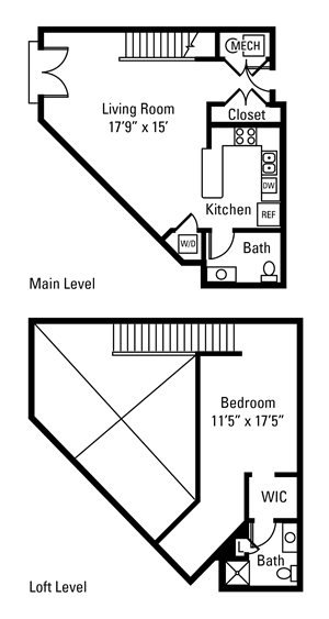 1 Bedroom, 1.5 Bath 1,038 sq. ft.