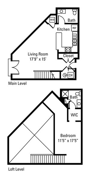 1 Bedroom, 1.5 Bath 958 sq. ft.