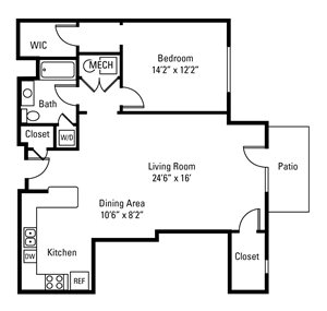 1 Bedroom, 1 Bath 1,007 sq. ft.