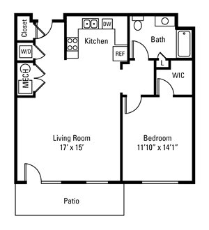 1 Bedroom, 1 Bath 855 sq. ft.