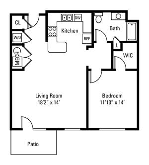 1 Bedroom, 1 Bath 858 sq. ft.