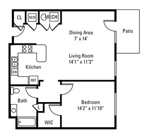 1 Bedroom, 1 Bath 861 sq. ft.