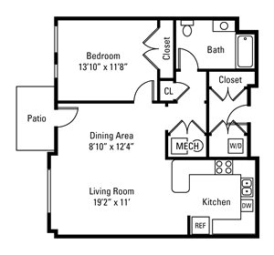 1 Bedroom, 1 Bath 879 sq. ft.