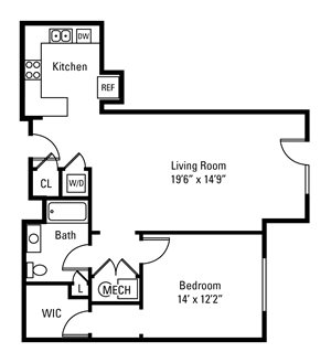 1 Bedroom, 1 Bath 915 sq. ft.