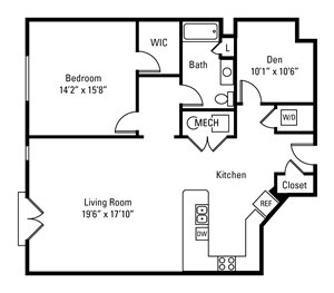 1 Bedroom, 1 Bath 1,246 sq. ft.
