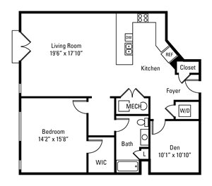 1 Bedroom, 1 Bath 1,254 sq. ft.