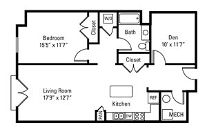1 Bedroom, 1 Bath 990 sq. ft.