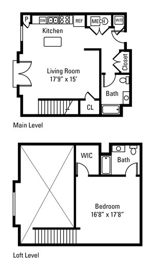 1 Bedroom, 2 Bath 1,193 sq. ft.